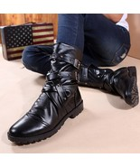 Black White Punk Motorcycle Martin Boots For Men PU Leather Zipper Buckl... - $47.91