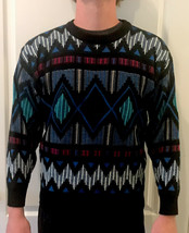 Vintage Gabrielle 80's Grandpa Sweater Leather Trimming Black Teal Blue ... - $24.74