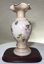 Vintage FENTON Art Glass Satin Pink ROSALENE Hand Painted Ruffled Vase 8... - $120.00