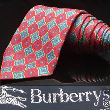 Burberry Of London Tie Red Silk Floral Diamond flower  hallucinat hippy ... - $41.25