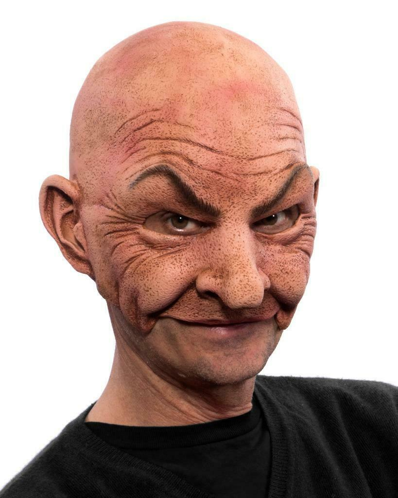 Johnny Mask Bald Man Creepy Old Guy Latex Halloween Costume Party MG1007