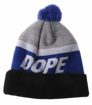 Dope Couture Black Blue and Grey Victory Pom Beanie Winter Hat NWT image 3