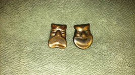 Vintage/antique theatrical Faces copper drama screw back earrings happy/... - $18.99
