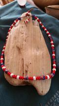 Chevron Millifiori & Red Glass White Heart Trade bead Necklace Tribal Bu... - $39.06