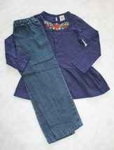 Fisher Price Girls Outfit Size 4T Navy Blue Embroidered Yoke Top & Jeans... - $16.82