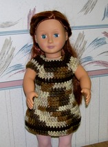 American Girl Multi Crocheted Brown Sleeveless Dress, Handmade, 18 Inch ... - $22.00