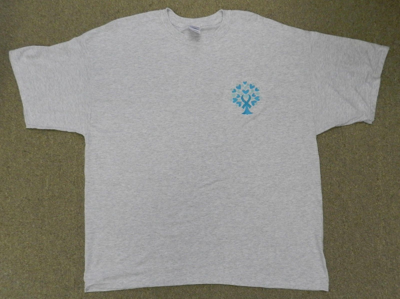 Ovarian Cancer Awareness 2XL Teal Ribbon Tree of Life Heart Gray S/S T Shirt New