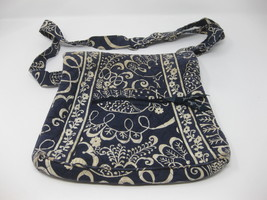VERA BRADLEY Crossbody Purse Blue Cream Floral White Satchel Messenger Bag - £11.93 GBP