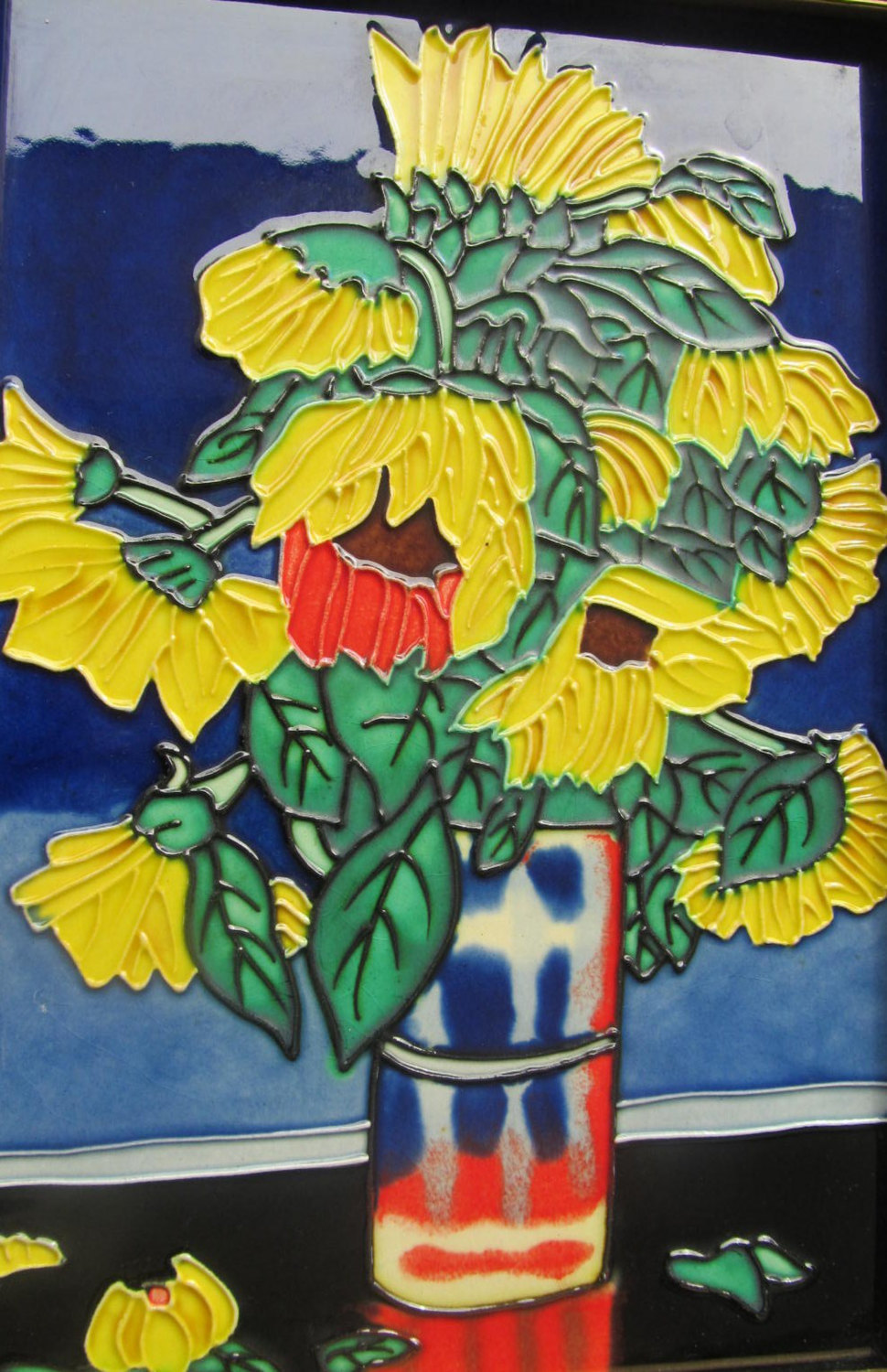 """Handmade & Handpainted """"Sunflowers"""" Stained Glass Painting Collectible Art Wall"""
