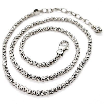 925 STERLING SILVER OFFICINA BERNARDI DIAMOND CUT SPHERES 3 MM CHAIN NECKLACE