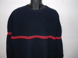 Nautica Navy Blue Red Spellout Crewneck Sweater XL - $24.99
