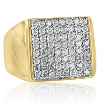 14K Yellow Solid Gold Men's Diamond Top Square Ring (2.10 tcw) - £1,392.33 GBP