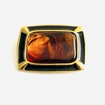 "Vintage Trifari Signed Amber Gold Enamel Black Brooch Pin 1 3/4"" x 1 3/8"" - $18.97"