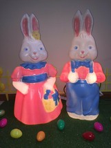 "Last New Set of 26"" Mr. & Mrs. Easter Bunny Lighted Blow Mold Yard Decor... - $395.99"