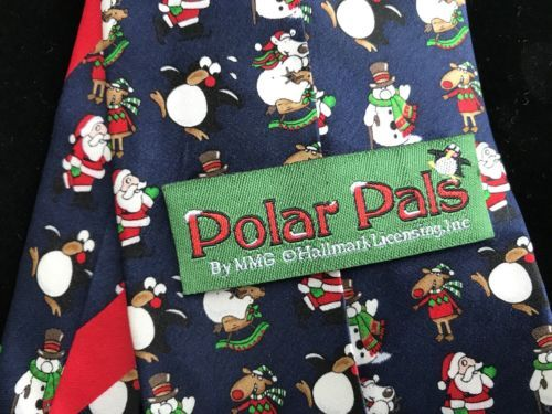 "Christmas Tie - Navy Blue - Hallmark ""Polar Pals"" Line"