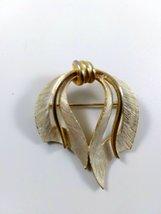 Vintage Signed J.J. Gold Tone Brushed White Enamel Tied Ribbon Brooch - $20.00