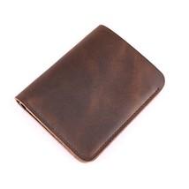 Men's Handmade Front Pocket Vertical Bifold Short Leather Wallet,Vintage Styl - $14.71