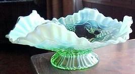 "Jefferson Glass Green Opalescent Vintage 8 1/2""  Bowl-beautiful viney gr... - $23.39"