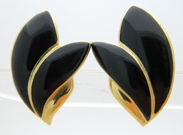 Trifari TM Black Enamel Abstract Leaf Shape Gold Tone Clip Earrings - $19.80