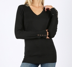 Black V Neck Sweater, Long Sleeve Black Sweater, Black Sweater, Colbert Clothing