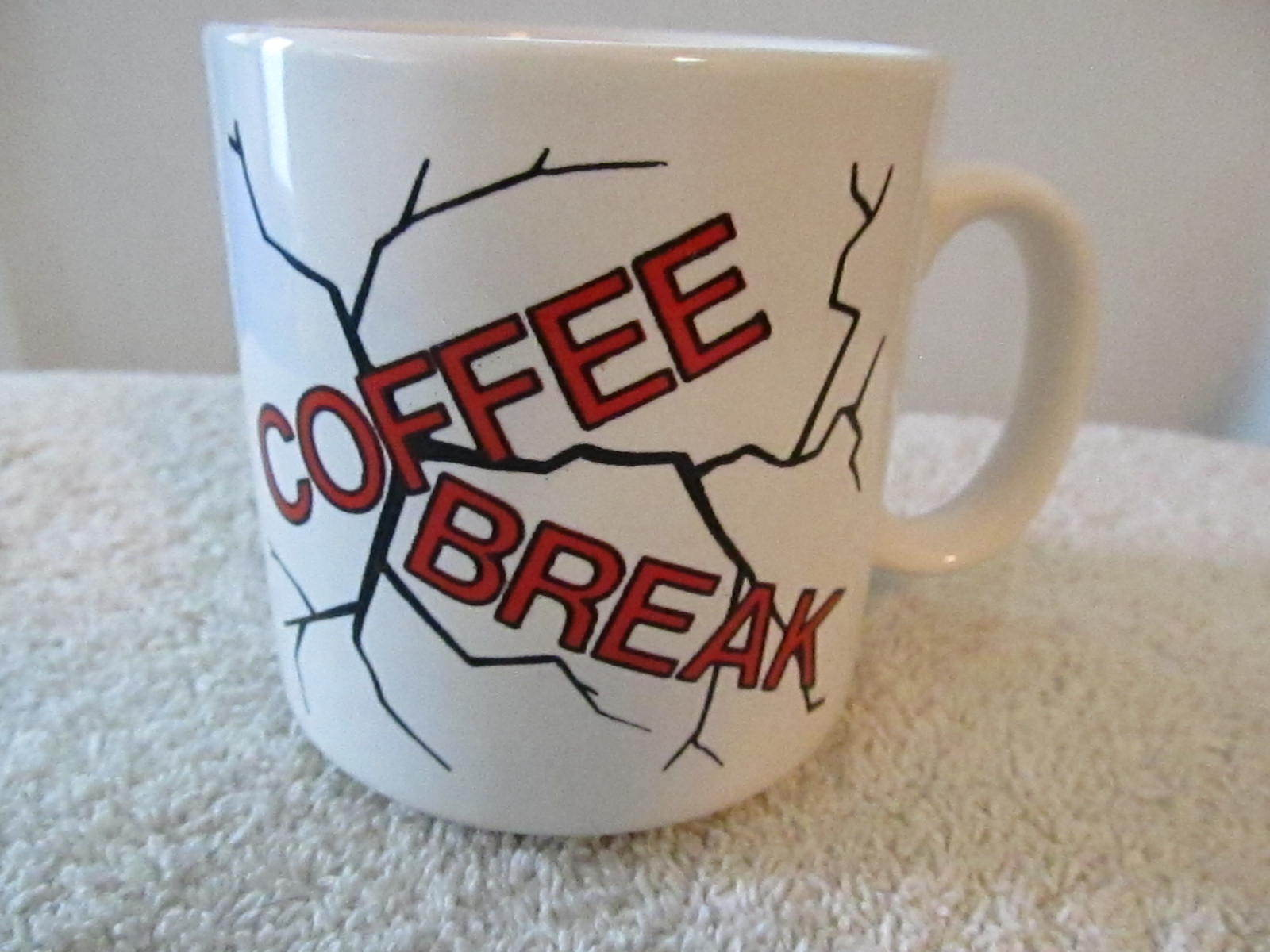 "Primary image for Russ Berrie England Humorous ""Coffee Break"" White Red Black Coffee Mug Cup!"