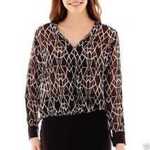 Bisou Bisou Long-Sleeve Print Wrap Blouse Size S New Msrp $48.00 - $14.99