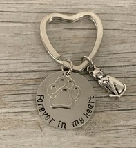 Pet Memorial Jewelry, Forever in My Heart Paw Charm Keychain - Paw Print... - $9.99