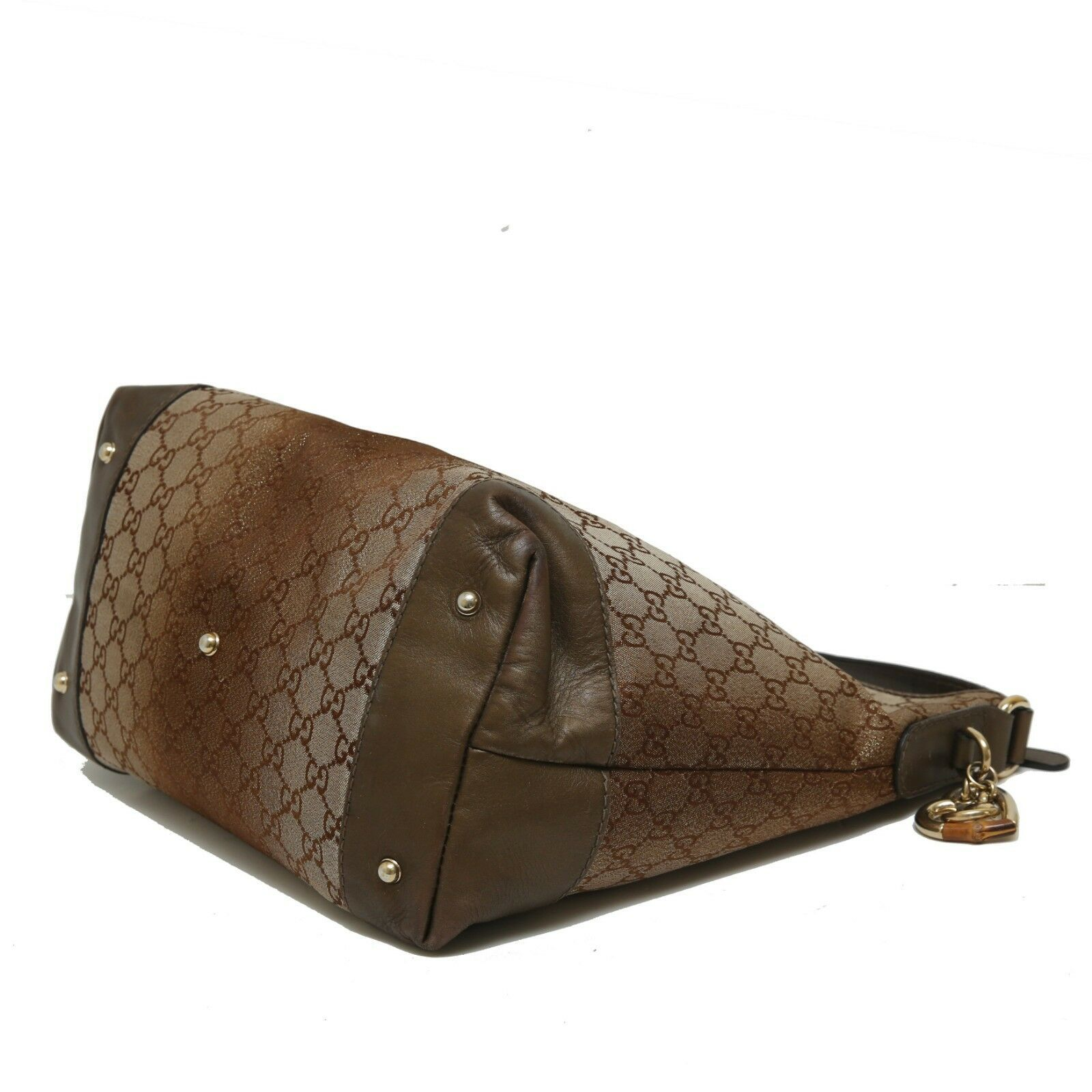 Authentic GUCCI Guccissima Canvas Glitter Hobo Bag with Heart Motif Leather Trim