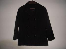 Perry Ellis Black Wool Pea Coat Military Jacket Womens Size M 38 Nordstrom - $19.80
