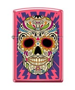 ZIPPO Sugar Skull Neon Pink Lighter Day Of The Dead Lighting Bolts New C... - $31.99