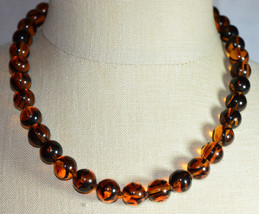 "NWT ERWIN PEARL Gold Tone Hand Knotted Faux Tortoise Glass Bead Necklace 19.5"" - $70.29"