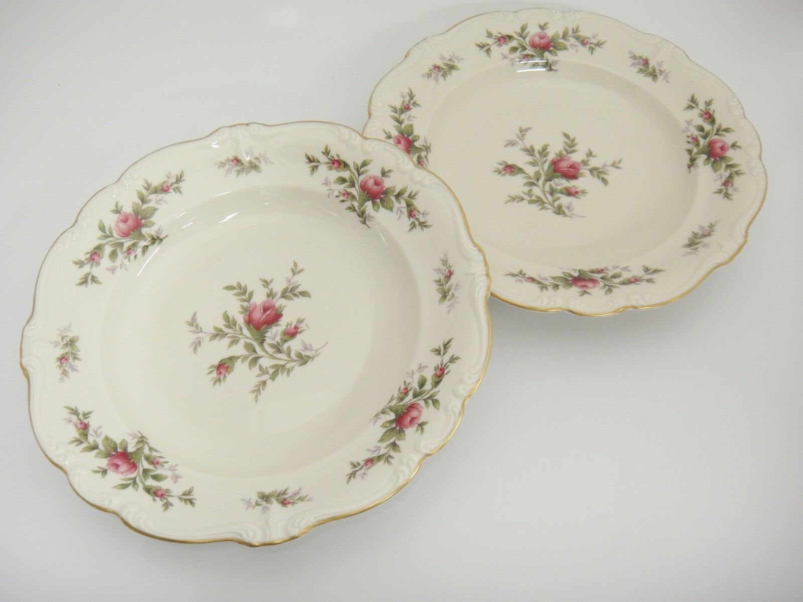 Primary image for Rosenthal Antoinette Moss Rose Rimmed Soup Bowls Lot of 2 Pompadour Mint