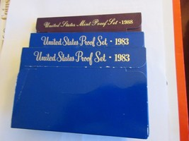 United States Mint Proof Sets , 1983 (2) , 1988(1) , Lot of 3 Sets - $16.00