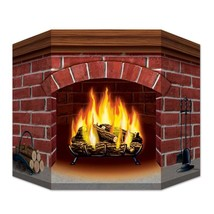 Christmas Brick Fireplace Stand-Up Cardboard Amazing Winter Festive Deco... - $20.83