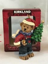 Kirkland Signature Brown Bear Holding Christmas Tree Vintage Ornament Gift - $7.70