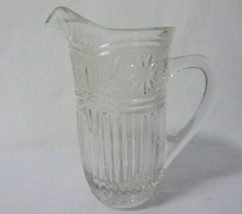 """EAPG TANKARD STYLE CRYSTAL 8"""" HIGH PITCHER SATIN BAND w/ SUNFLOWERS RIBB... - $26.99"""