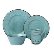 LORREN HOME TRENDS 16 PIECE DISTRESSED WEAVE DINNERWARE SET-BLUE - $89.05