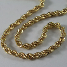18K YELLOW GOLD CHAIN NECKLACE 3.5 MM BRAID BIG ROPE LINK 15.75, MADE IN ITALY image 2