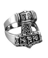 Sterling Silver Viking God Thor Hammer Mjölnir Mjolnir Futhark Runes Bik... - $41.95