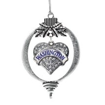 Inspired Silver Washington Pave Heart Holiday Christmas Tree Ornament With Cryst - $14.69