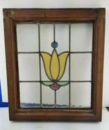 """Old English Leaded Stained Glass Floral Window Approx 20"""" x 17"""" Framed 2... - $163.35"""