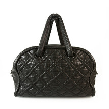 CHANEL Boho style Black Leather Large Bowling bag, chain inside leather ... - $2,267.10