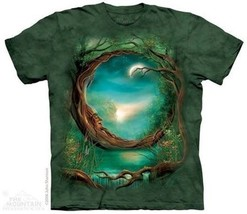 Moon Tree Old Man Trunk Face Fantasy Art Hand Dyed T-Shirt, NEW UNWORN - £8.98 GBP
