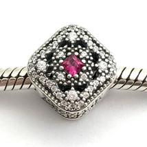 Authentic Pandora Fairytale Treasure, Cerise Crystal & Clear CZ Charm 79... - $62.69