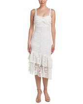 Just Me White Asymmetric Hem Lace Shift Dress