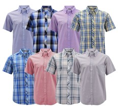 Men's Cotton Casual Short Sleeve Classic Collared Plaid Button Up Dress Shirt image 1