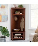 Cherry Finish Wooden Corner Hall Tree Coat Rack Hat Hooks Storage Stand ... - $323.63