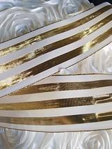 """AK-Trading 2.5"""" x 25 Yards Metallic Striped Gift Wrap & Craft Ribbon - Gold & Iv - $18.76"""
