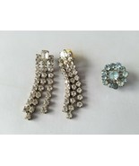 Vintage Fashion Jewelry Set Small Pin Brooch & Matching Earrings Rhinestone - $24.26