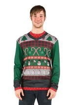 Ugly Christmas Sweater Candy Canes Mens Adult Costume Halloween Party FR... - €40,81 EUR